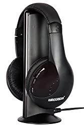 5 CORE HD-1 Hi-Fi Wireless headphone AAA battery powered Multitasked (All in one) with hands free calling & wireless chat & monitoring feature , wireless FM streaming feature, headphone for all computers, laptops and phones with 3.5 mm audio Jack, NO App required(Black)