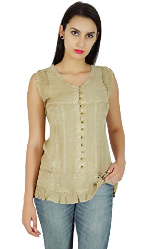 Brodé Rayon Button Down Boho Top Casual Shirt Vêtements Pour Beige