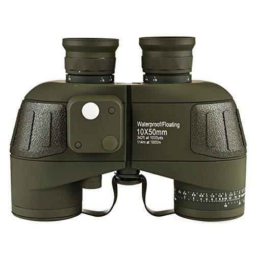 YBZS Military 10X50 HD Marine-Fernglas Vergrößern Entfernungsmesser Kompass Teleskopokulares Wasserdicht Stickstoff Armee-Grün