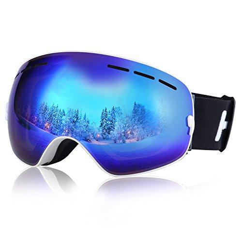 Profi Skibrille Snowboardbrille Anti-Fog,Anti-UV, Schnee, Nebel Goggles Weitwinkel für Freien Schnee Skifahren Snowboard Skate Snowmobile Motorrad Wintersport Brillen (Blau/weiß)