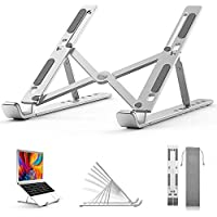 """Laptop Stand, BiuLing Adjustable Portable Laptop Holder for Desk, Aluminum Foldable Laptop Riser with 6 Levels of Height Adjustment, Compatible with MacBook Air Pro, Dell, HP, Lenovo,10-15.6"""" Laptops"""
