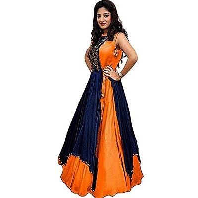 Syamaju Enterprise Women's Tapeta Silk Gown (G_4_Multi-Color_Freesize)