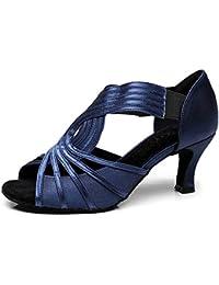 2a63901b8a ZXYYUE Mujer Zapatos de Baile Danza Latino Alto Tacón Personalizado  Personalizables,Blue,43