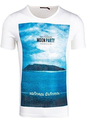 BOLF T-shirt Figurbetont Kurzarm GLO STORY 7480 Weiß XXL [3C3]  