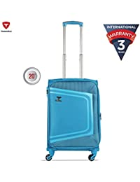 Traworld Tokyo Expandable Premium Jacquard Material 59cm Teal Blue Soft Sided 4 Wheels Spinner Travel Trolley Luggage Suitcase