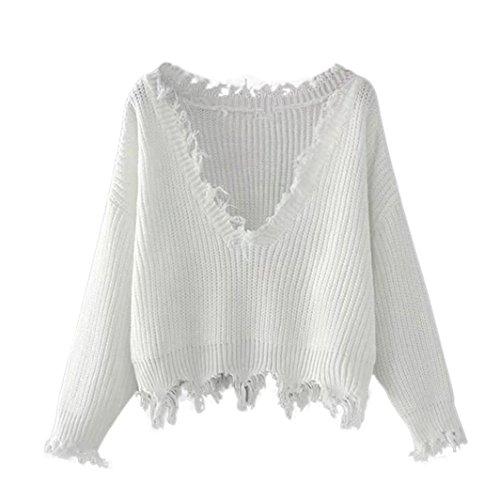 Vovotrade Frauen Herbst Winter V-Ausschnitt Casual Langarm Stricken Pullover Tops Bluse (Free Size, Weiß) (Stricken Top)