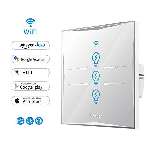 Smart Lichtschalter, WIFI Lichtschalter, gehärtetem Glas Touchscreen, Kompatibel mit Alexa und Google Home, steuern Sie Ihre Geräte von überall, Timing-Funktion, Überlastschutz, kein Hub erforderlich (3 Weg)