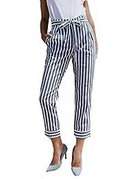 Pantalon Carotte à Rayures avec Lien à Nouer Femme,OverDose Été Décontracté  Trousers Fuselé Slim 5bf5b8f2e0c