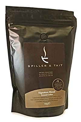 Spiller & Tait Signature Blend - Ground Coffee 500g Bag – Award Winning - Top Speciality Coffee Roasted in the UK – Suitable for Filter/Aeropress/Cafetiere – Premium Arabica Beans from Spiller & Tait