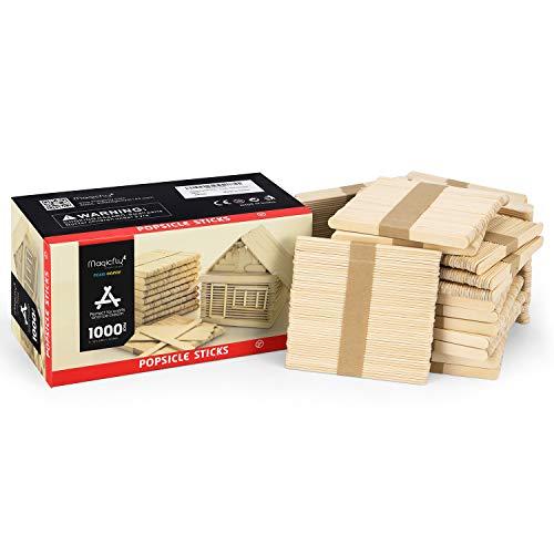 Magicfly Eisstiele aus Holz, 1000 Stücke Popsicle Sticks Holzstäbchen Holzspatel zum Basteln
