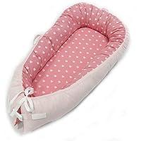 Linlang Cuna de Viaje Bebé, de Tipo Nido Sueño Seguro Capazo Infantil Colecho Suave Cama para Bebé Cuco Cojín para Tumbona 80 * 50cm Corazón Rosado para ...