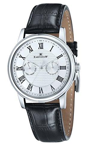 Montre à quartz Flinders pour homme Thomas Earnshaw avec cadran blanc argenté analogique et bracelet en cuir noir – ES-8036-01