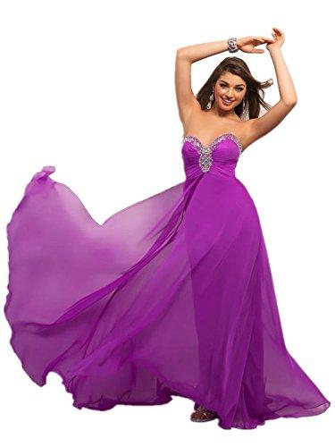 Lemandy Robe de soirée longue mousseline col en coeur Violet