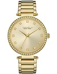Caravelle New York Gold T Bar reloj de mujer de cuarzo con Esfera Analógica Pantalla y Pulsera de oro amarillo 44l209