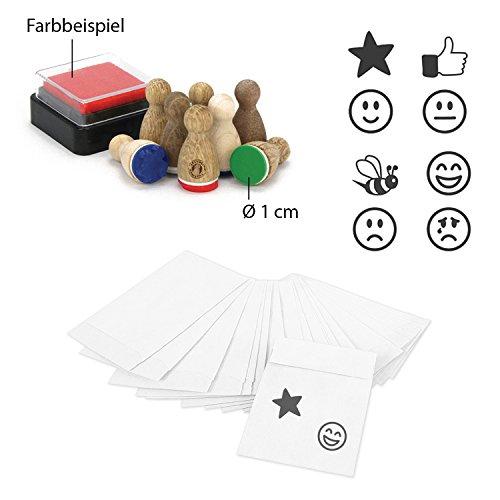 25 weiße Mini-Papiertütchen (4,5 x 6 cm) mit 8 Mini-Stempel