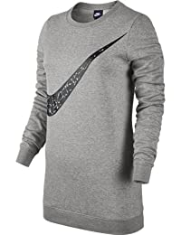 Nike W Nsw Crw Flc Bf Gx, Camiseta Para Mujer, Multicolor (Dk Grey Heather / Black), L
