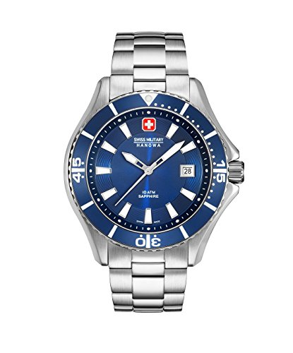Swiss Military Hanowa Herren Analog Quarz Uhr mit Edelstahl Armband 06-5296.04.003