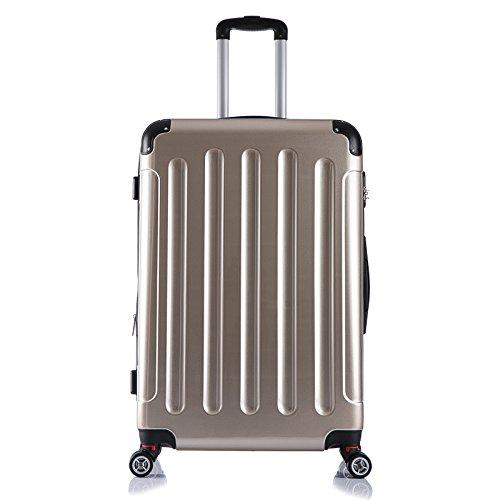 EUGAD #376 Reisekoffer Hartschale Koffer Trolley mit erweiterbare Volumen , Reise Koffer Trolley 4 Rollen , Hartschalenkoffer Handgepäck M/L/XL/Set , leicht und günstig , Champagne (XL, 76 cm & 110 Liter)