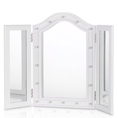 iKayaa Kosmetikspiegel Make up Spiegel Schminkspiegel Tischspiegel mit 16 Beleuchtung Faltbar