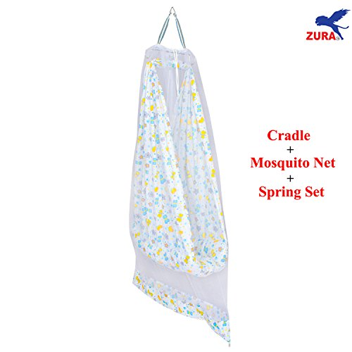 Zura's Baby Cradle / Baby bed / Baby Jhula Swing with Mosquito Net and Spring Set