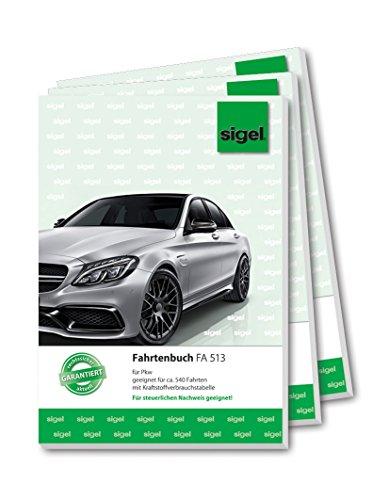Sigel FA513 Fahrtenbücher A5, 32 Blatt, 3er Pack - für Vielfahrer max. 540 Fahrten