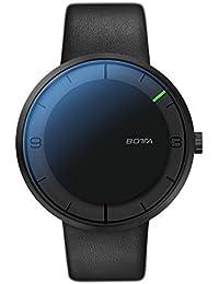 Botta NOVA - Reloj de pulsera (carbón automático, acero inoxidable, esfera negra, correa de piel), color negro