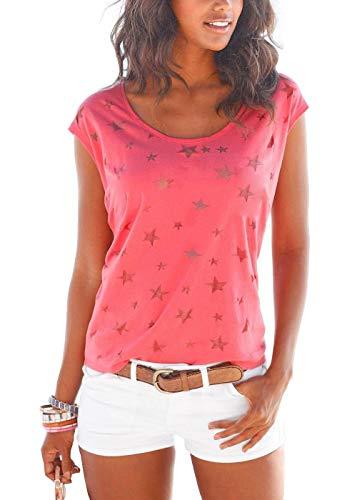 Lantch Damen T-Shirt Top Sommer Basic Kurzarm Shirts Baumwoll Tee Freizeit Oberteile(rd,s)
