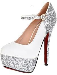 UH Frauen Stiletto High Heel Geschlossenen Zehe-Plattform-Leder-Kleid-Pumpen mit Rote Sohle Schuhe (37, Schwarz)