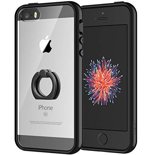 JETech Hülle für Apple iPhone SE iPhone 5s iPhone 5, Schutzhülle mit Anti-kratzt Transparente und Rückseite, Rotierendem Ring Fingerhalterung Ständer, Schwarz
