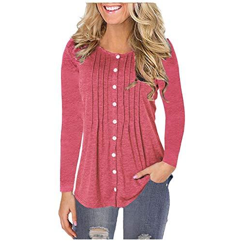 Damen V-Ausschnitt Langärmliges T-Shirt Einfarbig Knopf-Pullover T-Shirt Bluse Tops -
