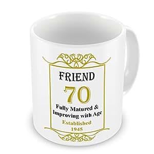 Freund zum 70. Geburtstag wurde 1945 Jahres Tasse, goldfarben