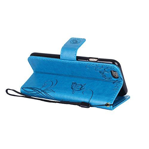 Cover iphone 6 / 6S, Alfort 2 in 1 Custodia Protettiva in Pelle Verniciata Goffrata Farfalle e Fioria Alta qualità Cuoio Flip Stand Case per la Custodia iphone 6 / 6S Ci sono Funzioni di Supporto e Po Blu
