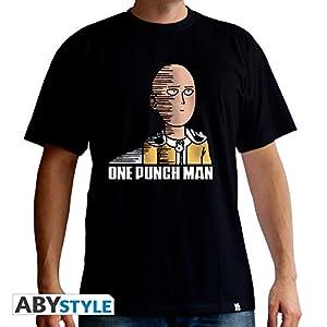 ABYstyle ABYstyleABYTEX420 - Camiseta básica de Manga Corta con diseño de Saitama de Abysse One Punch Man Negro X-Large
