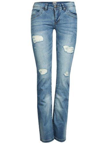 ONLY Damen Denim Jeans Hose Straight Low Auto Destroy BJ 2368 Chiara (W25/L34)