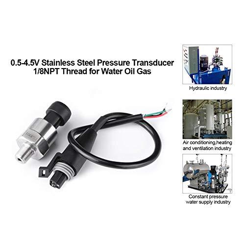 Druckaufnehmer Sensor,Jectse DC 5V 1/8NPT Edelstahl Pressure Transducer Sensor Druckmesswandler 30-500psi Druck für Öl, Kraftstoff, Diesel, Gas, Wasser, Luftdruck(100PSI) 30 Transducer