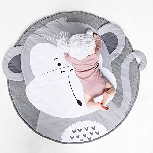 Tapis Bebe Rond Animaux Singe Coton Tapis épais Bébé Garçon Cadeau Tapis Doux Chambre Enfant