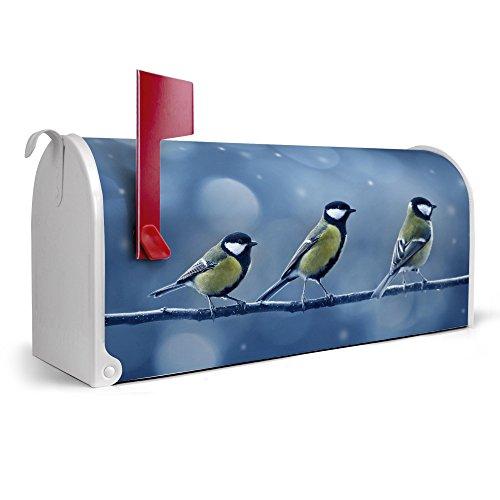 banjado-weier-Amerikanischer-Briefkasten-USA-Mailbox-17cm-x-22cm-x-51cm-mit-Motiv-Drei-Meisen