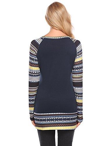 ... L'AMORE Damen Langarmshirt Weihnachten Casual Longshirt Rentier  Gedruckt Lange T Shirt Oberteil Marineblau ...