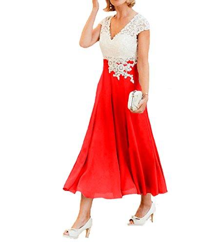 O.D.W Damen Spitze Formales Mutter des Brautkleides Brautmode Party Ballkleider(Weisse+Rot, 36)
