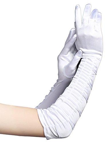 Babeyond Damen Handschuhe Satin Classic Opera Fest Party Audrey Hepburn Handschuhe 1920er Stil Handschuhe Elastisch Erwachsene Größe Ellenbogen bis Handgelenk Länge 52/55cm (Lang Gefaltet 52cm / Weiß)