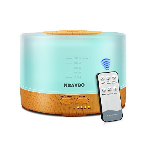 KBAYBO 500ml Control Remoto Aroma Difusor de Aceite Esencial de Aromaterapia Humidificador de Control Remoto con Luces LED de 7 Colores (Wood Grain)