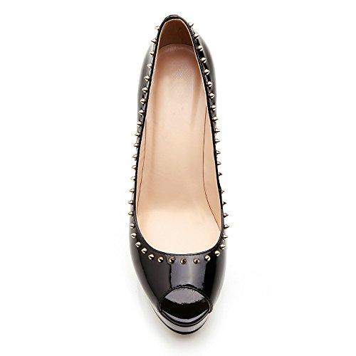 Kolnoo Damenschuhe High Heels Pumps Peep Toe Stilettos mit Plateau Absatz Lackleder Schuhe Rivets