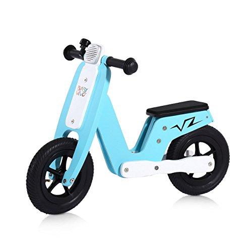 Baby Vivo Bicicleta de Equilibrio sin Pedales 10 Pulgada de madera con timbre de bicicleta - Capri Azul