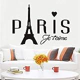 Lkfqjd Cursos De Paris Love Wall Stickers Extraíbles Paris Romantic Love Eiffel Tower Vinyl Wall Stickers Para Niños Habitaciones Pegatinas En Casa 59 * 41 Cm