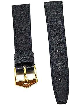 Uhrenarmband FORTIS Leder blau Ton in Ton 16mm Schließe gold NEU 8498