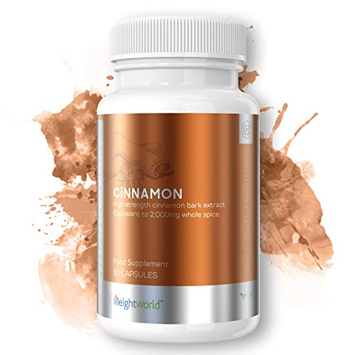 Cinnamon Capsules 2000mg - Max Bioavailability Ceylon Cinnamon, Thermogenic Slimming Supplement, Targets Blood Sugar Levels & Fat Levels, Supports Healthy Digestion - 60 Capsules - By WeightWorld
