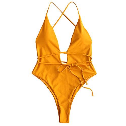 ZAFUL Damen Gepolsterter Tiefer V-Ausschnitt Badeanzug Rückenfreier Bademode mit Schnürung Einteilige Beachwear(Biene Gelb S)