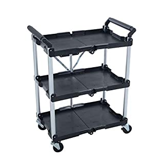 Azuma 3 Tier Folding Service Trolley Cart with Wheels & Shelf Units Folding Portable Collapsible Heavy Duty Utility Transport for Garage Workshop Tools Home Crafts Catering BBQ Food Drink Kitchen