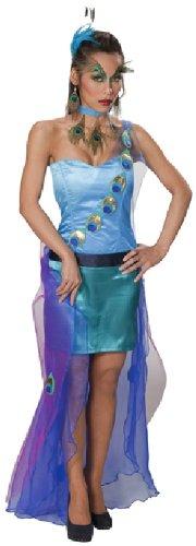 Damen Erwachsene Kostüme Pfau (Karneval Damen Kostüm Pfau Kleid als stolzer Vogel an Fasching Gr)