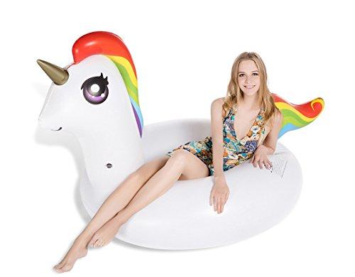 Jasonwell Riesiges Einhorn für Pool-Partys - Aufblasbares Schwimmtier - Luftmatratze - 120cm breit